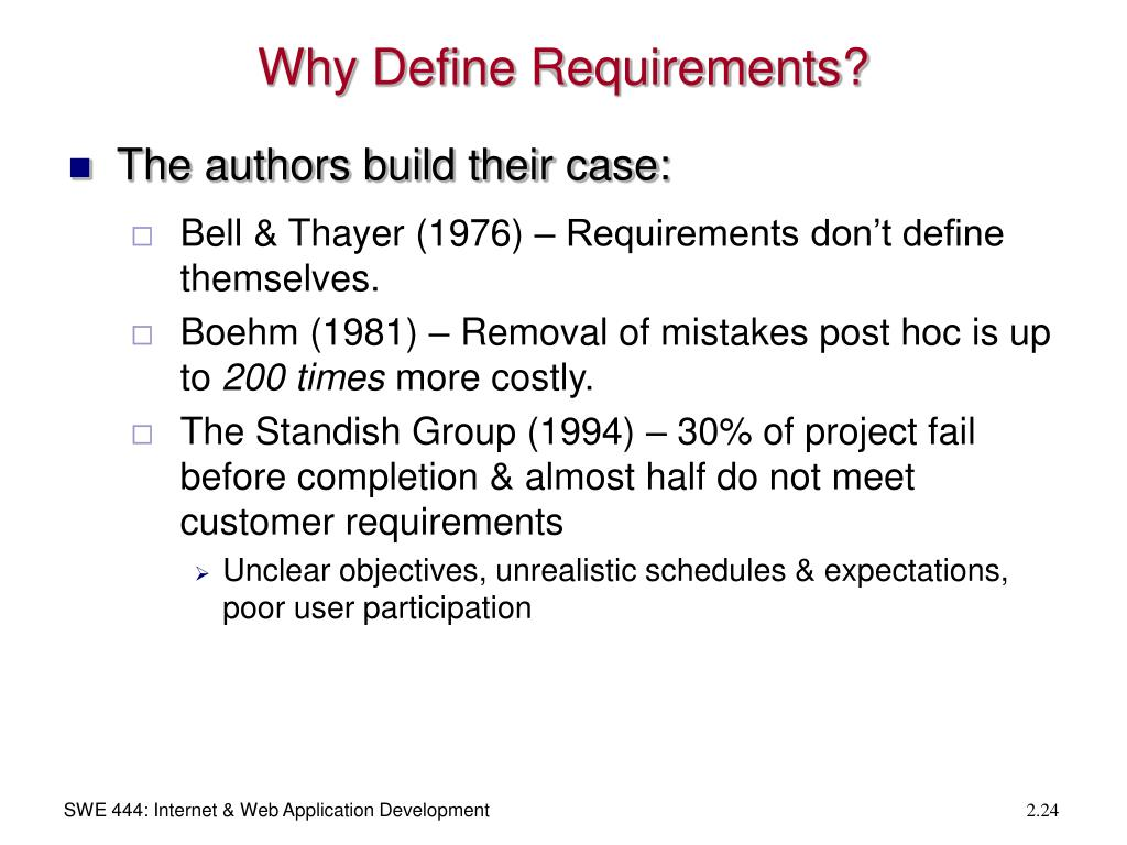 Why Define Requirements?