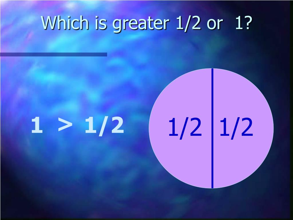 Which is greater 1/2 or  1?