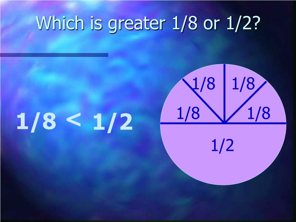 Which is greater 1/8 or 1/2?