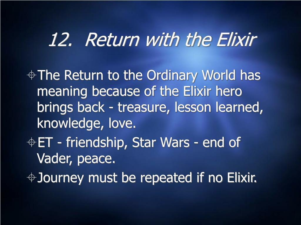 12.  Return with the Elixir