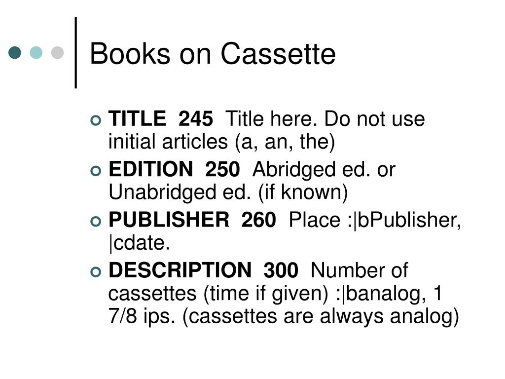 Books on Cassette