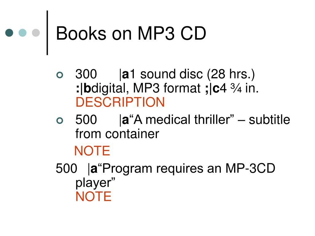 Books on MP3 CD