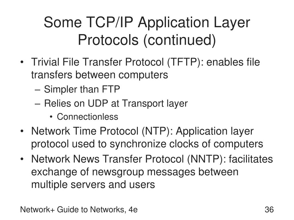 Some TCP/IP Application Layer Protocols (continued)
