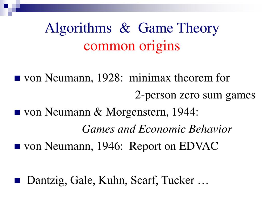 Algorithms  &  Game Theory