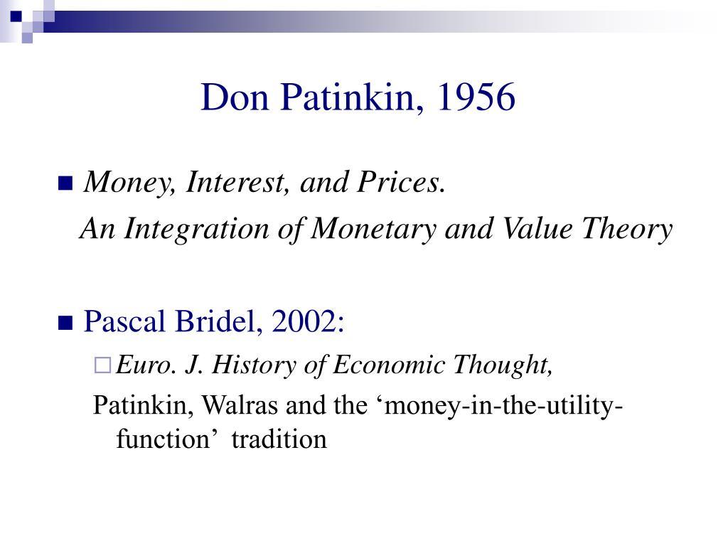 Don Patinkin, 1956