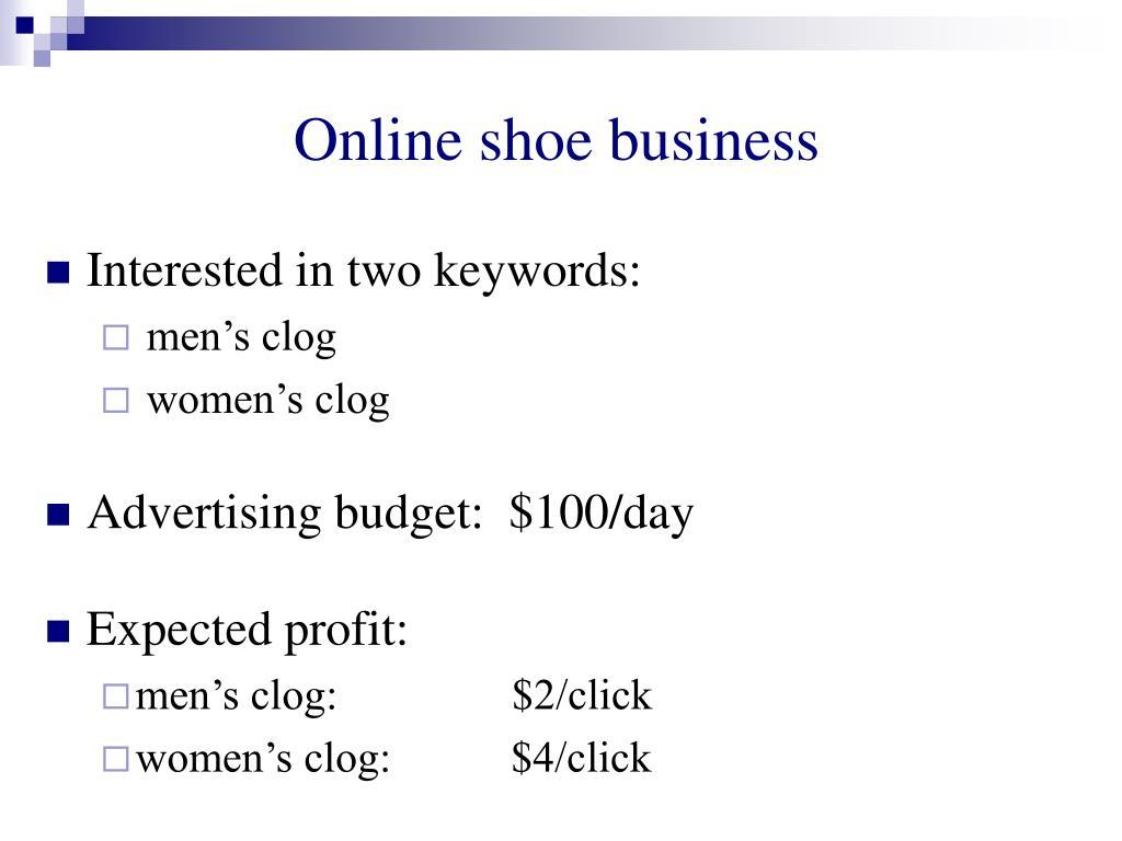 Online shoe business