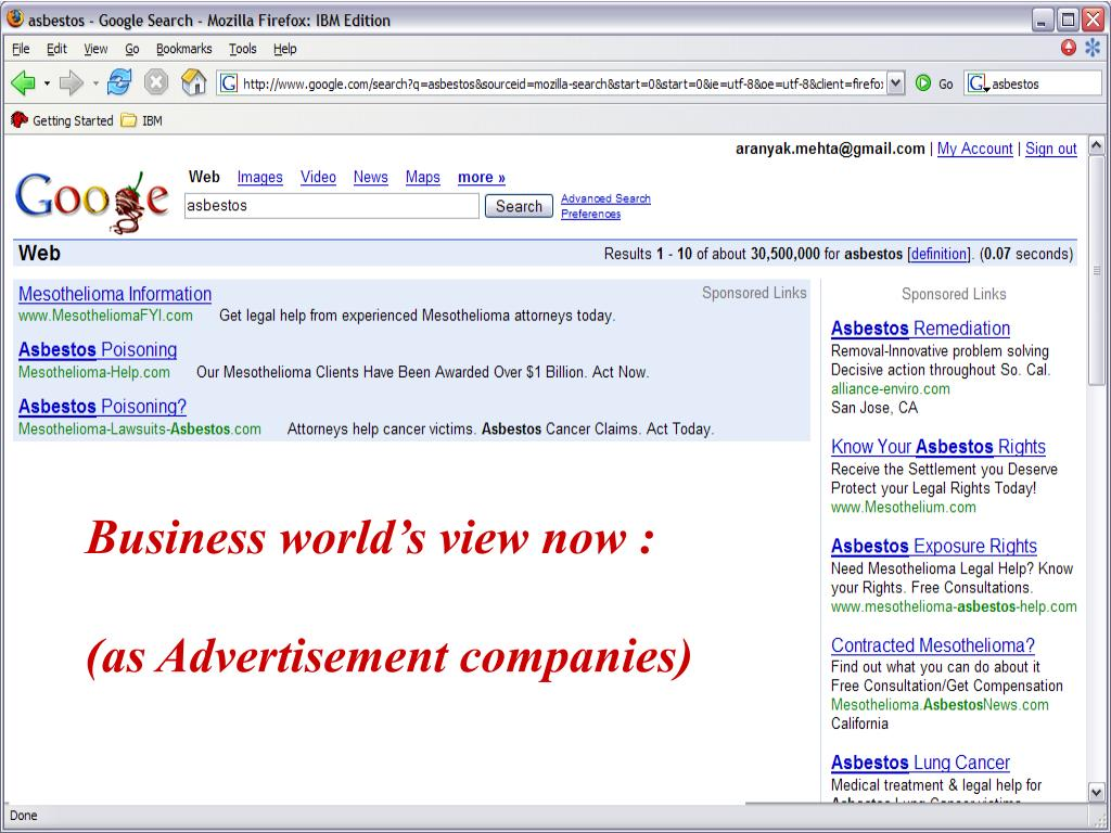Business world's view now :