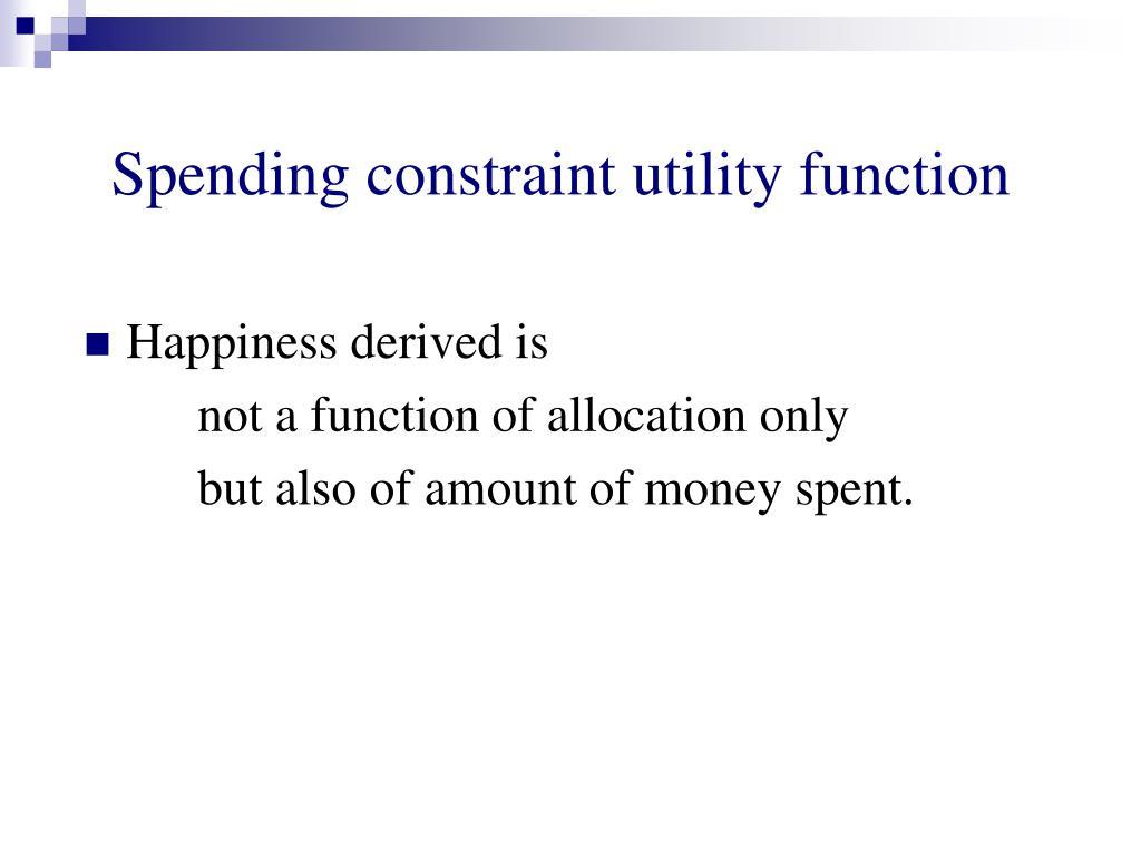 Spending constraint utility function
