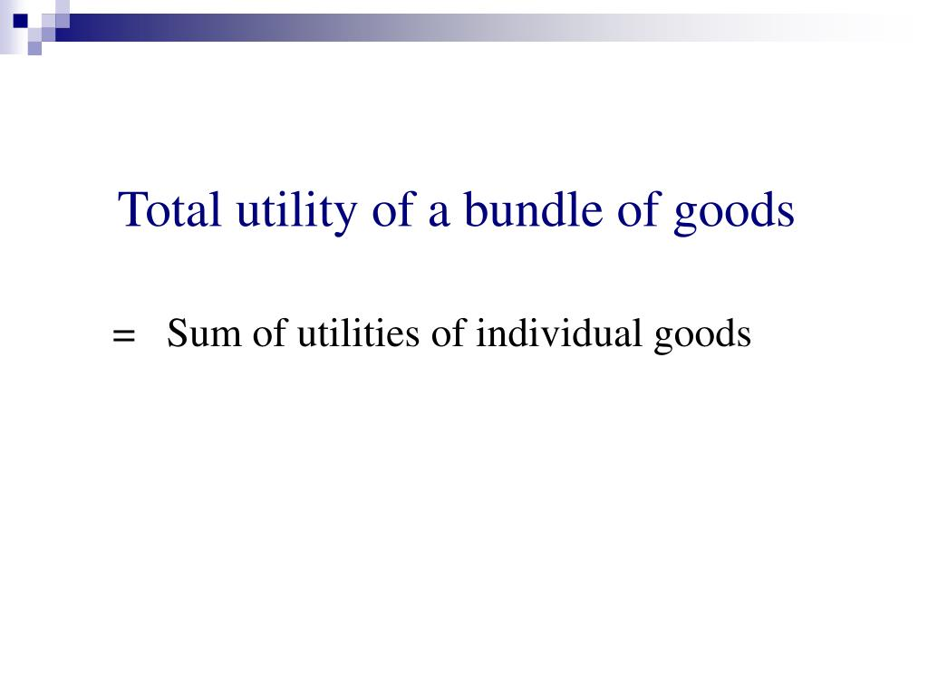 Total utility of a bundle of goods