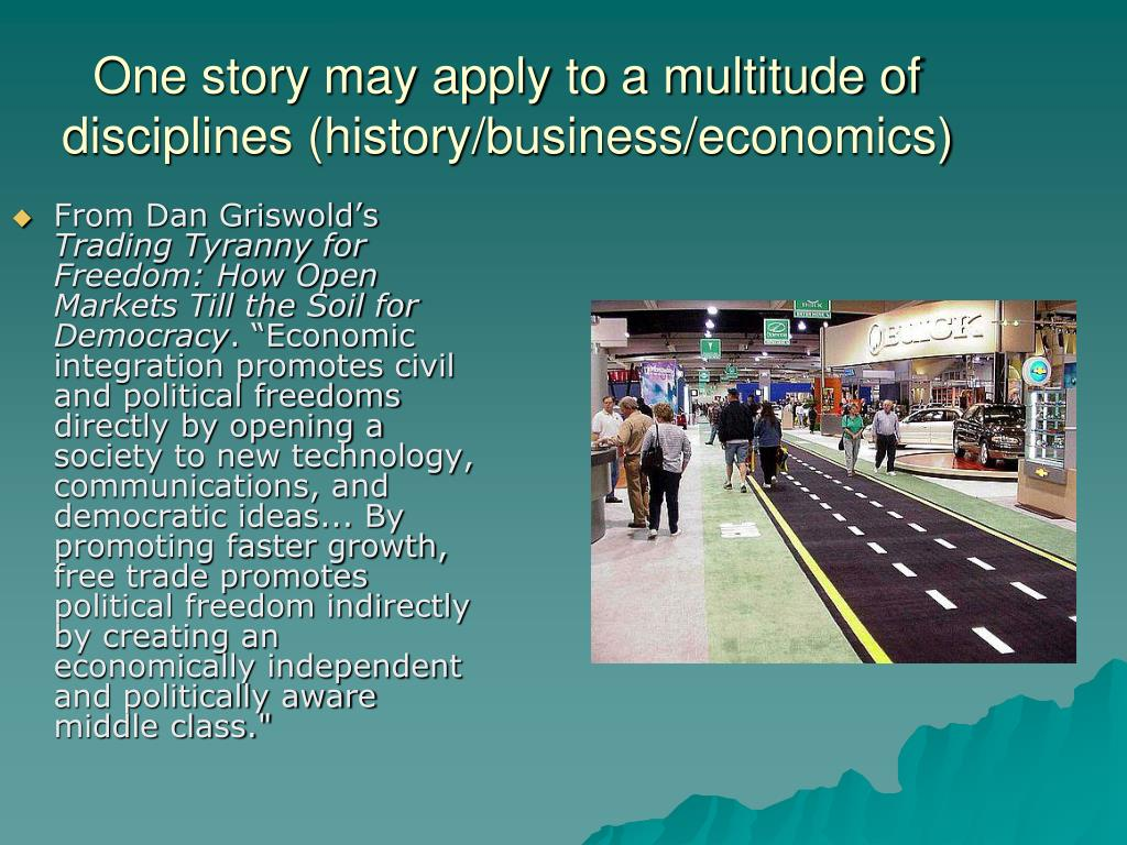 One story may apply to a multitude of disciplines (history/business/economics)