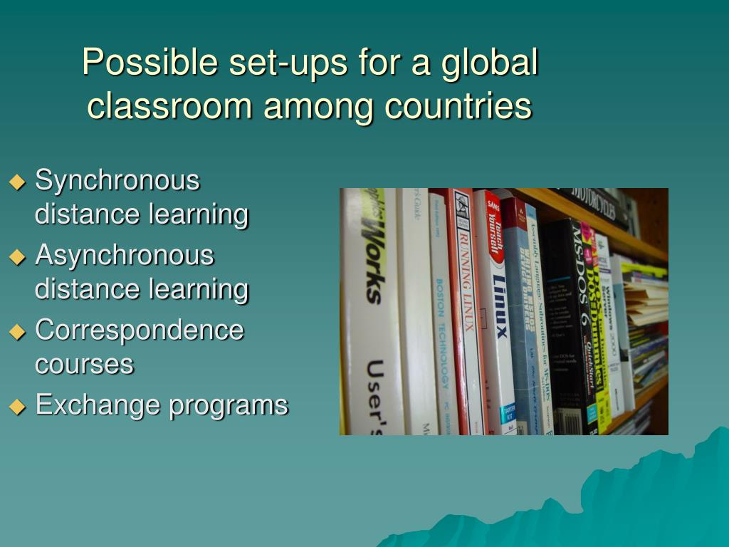 Possible set-ups for a global classroom among countries