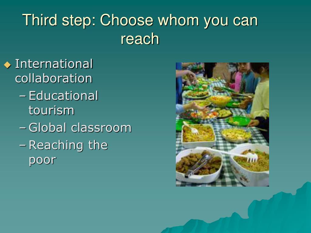 Third step: Choose whom you can reach