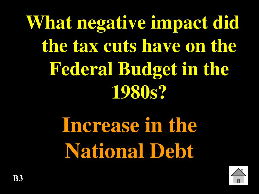 What negative impact did the tax cuts have on the Federal Budget in the 1980s?