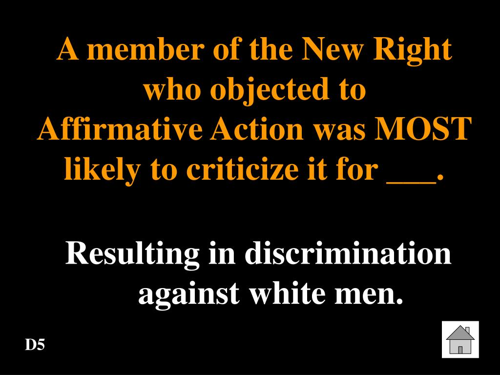 A member of the New Right who objected to         Affirmative Action was MOST likely to criticize it for ___.