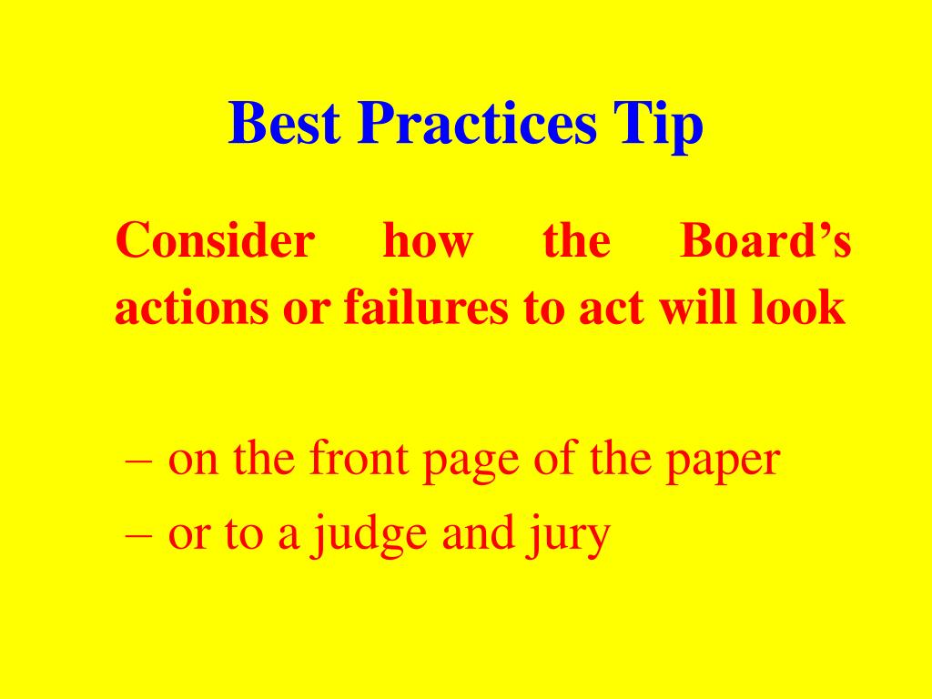 Best Practices Tip