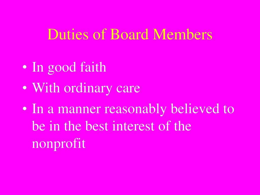 Duties of Board Members