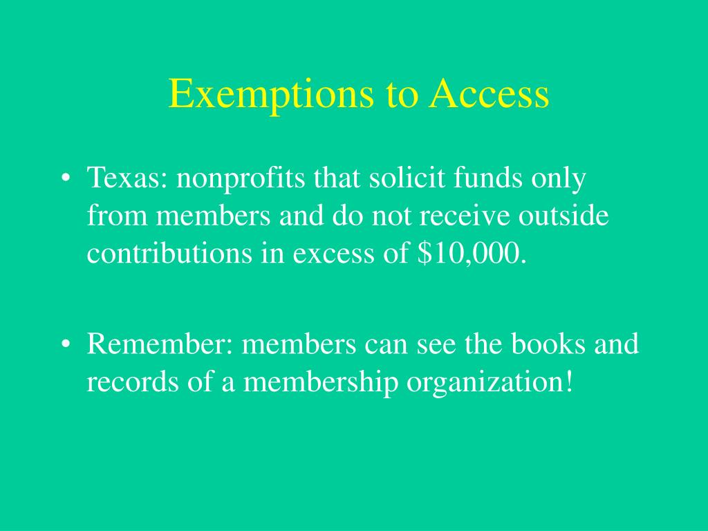 Exemptions to Access