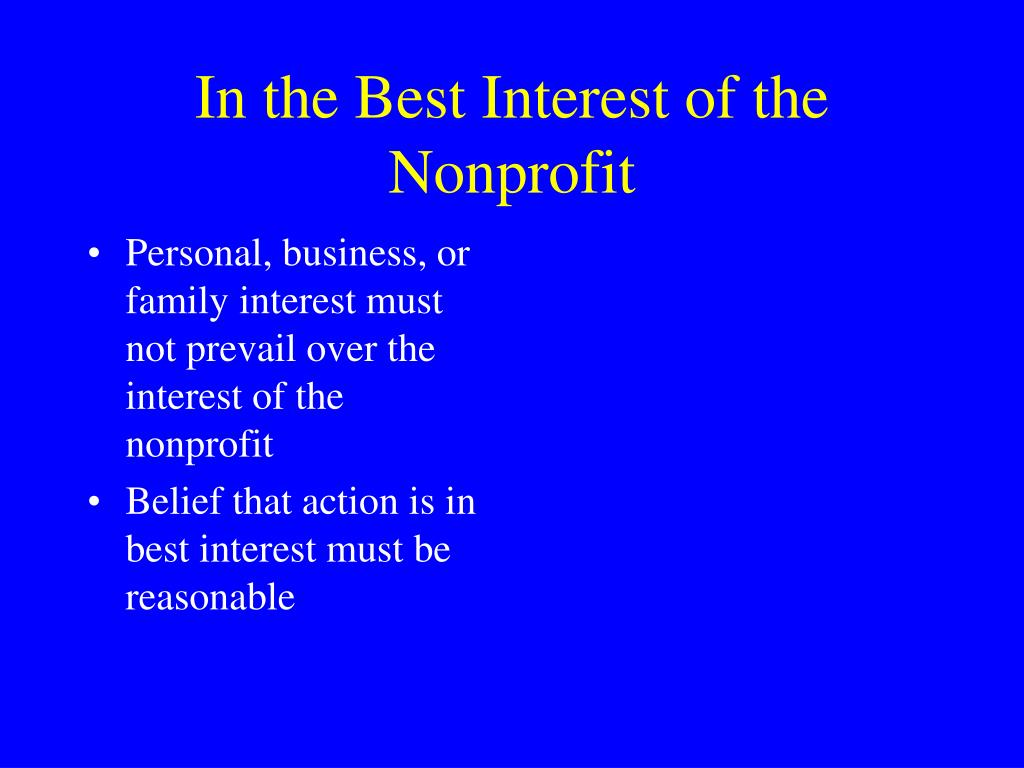 In the Best Interest of the Nonprofit