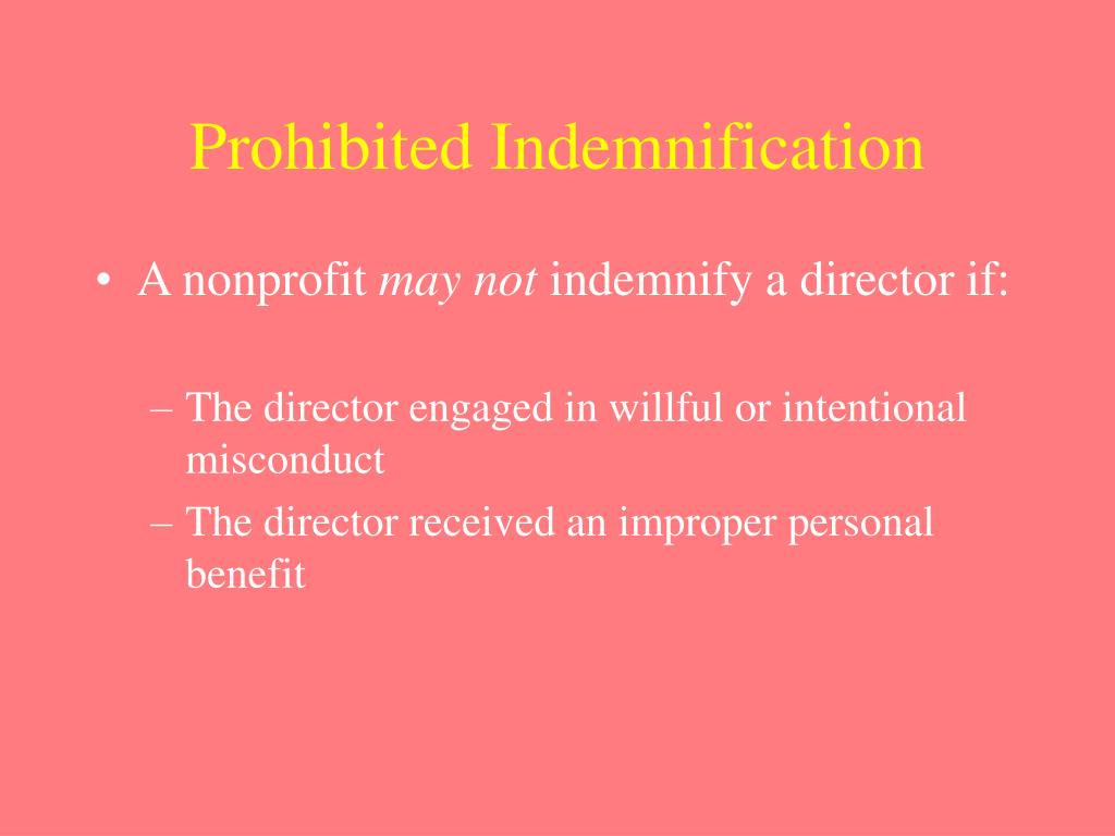 Prohibited Indemnification