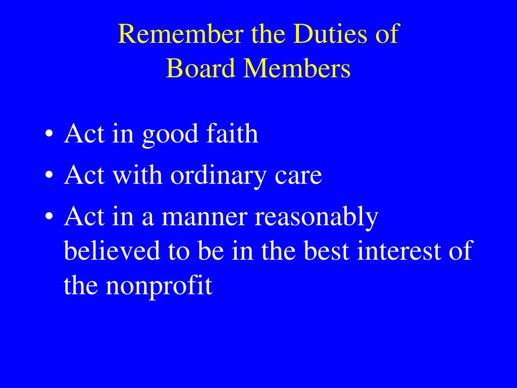 Remember the Duties of