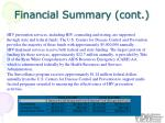 financial summary cont