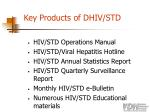 key products of dhiv std