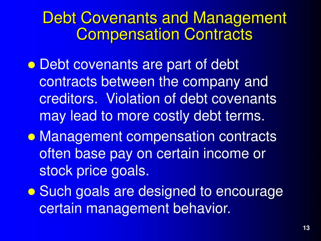 Debt covenants are part of debt contracts between the company and creditors.  Violation of debt covenants may lead to more costly debt terms.