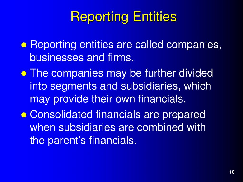 Reporting entities are called companies, businesses and firms.
