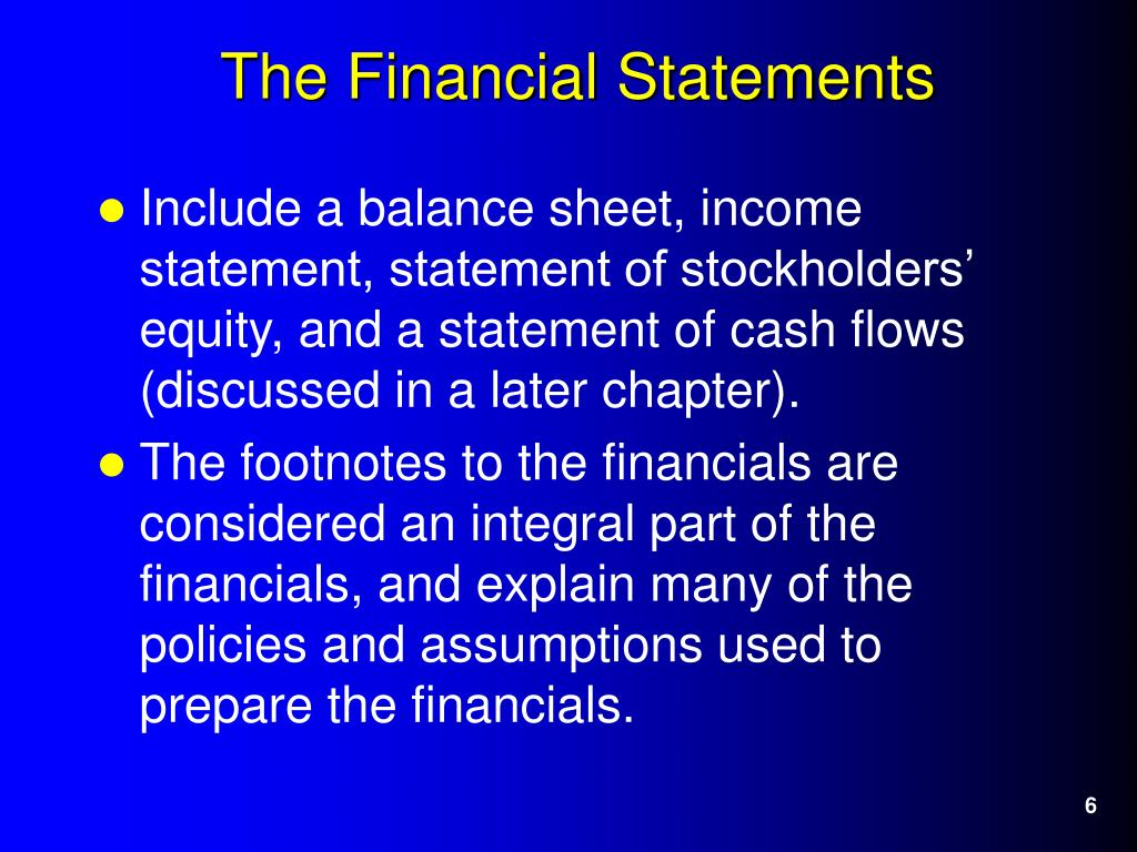 Include a balance sheet, income statement, statement of stockholders' equity, and a statement of cash flows (discussed in a later chapter).