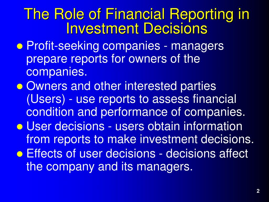 Profit-seeking companies - managers prepare reports for owners of the companies.