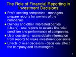 the role of financial reporting in investment decisions