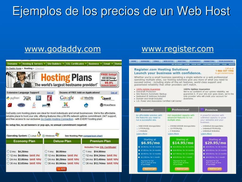 Ejemplos de los precios de un Web Host