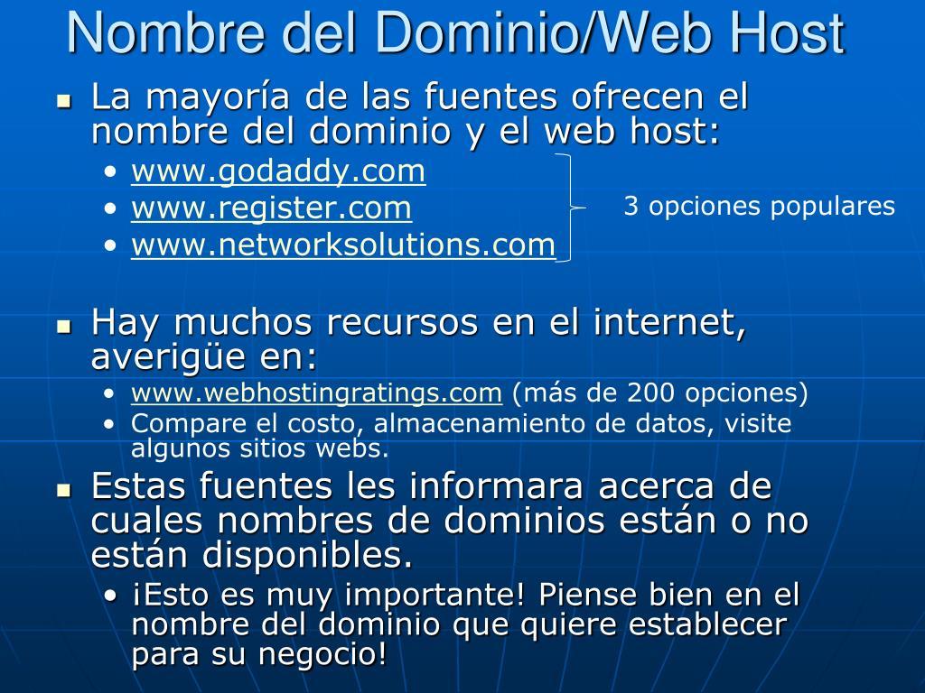 Nombre del Dominio/Web Host