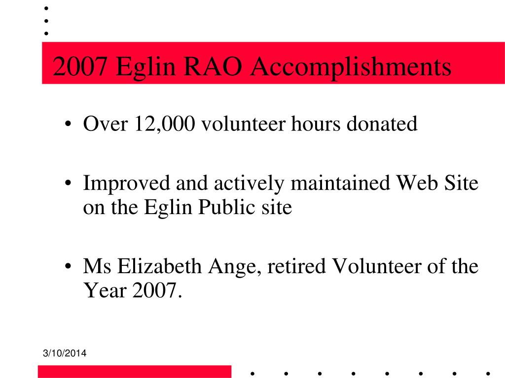 2007 Eglin RAO Accomplishments