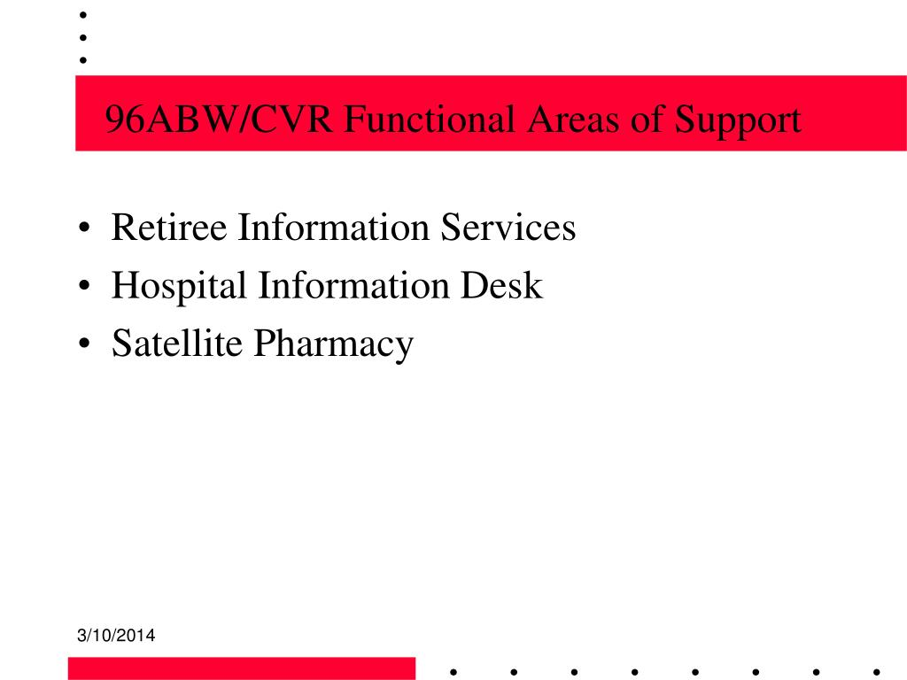 96ABW/CVR Functional Areas of Support