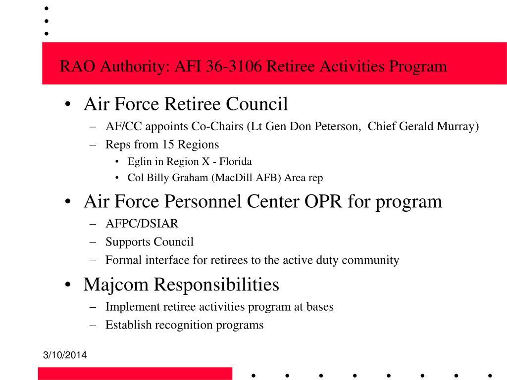 RAO Authority: AFI 36-3106 Retiree Activities Program