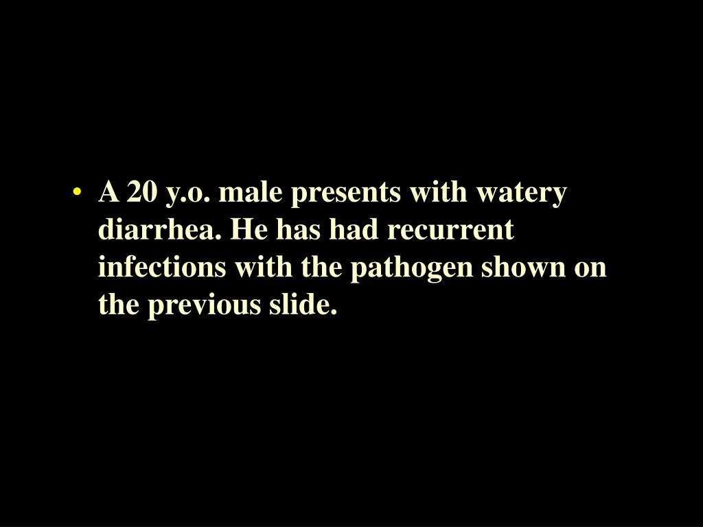 A 20 y.o. male presents with watery diarrhea. He has had recurrent infections with the pathogen shown on the previous slide.
