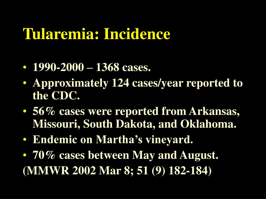 Tularemia: Incidence
