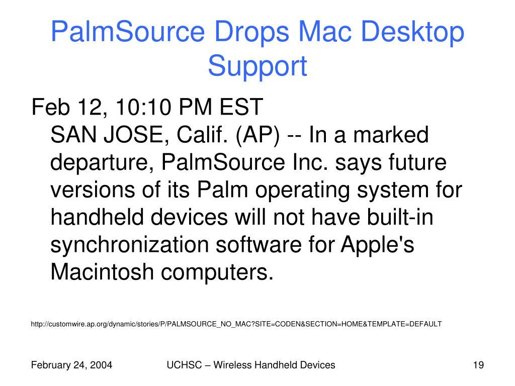 PalmSource Drops Mac Desktop Support