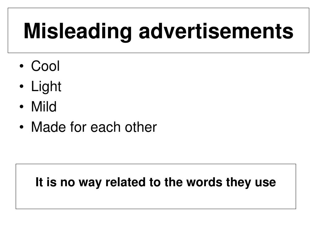 Misleading advertisements