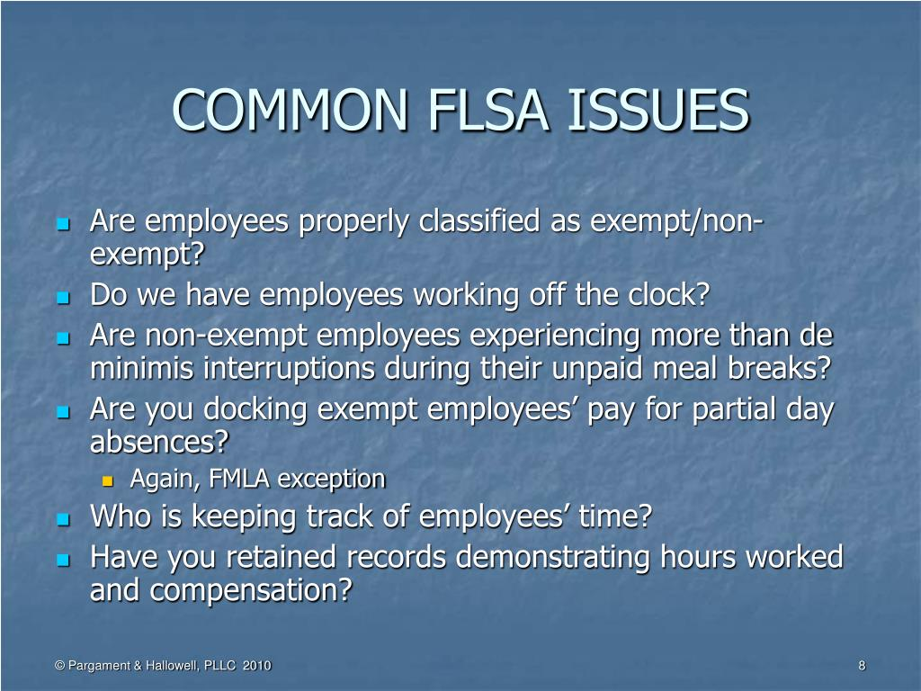 COMMON FLSA ISSUES