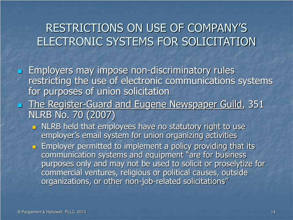RESTRICTIONS ON USE OF COMPANY'S ELECTRONIC SYSTEMS FOR SOLICITATION
