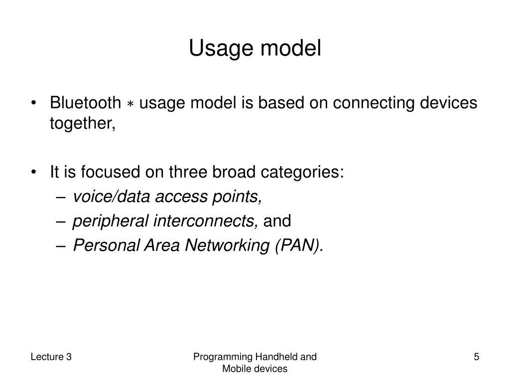 Usage model
