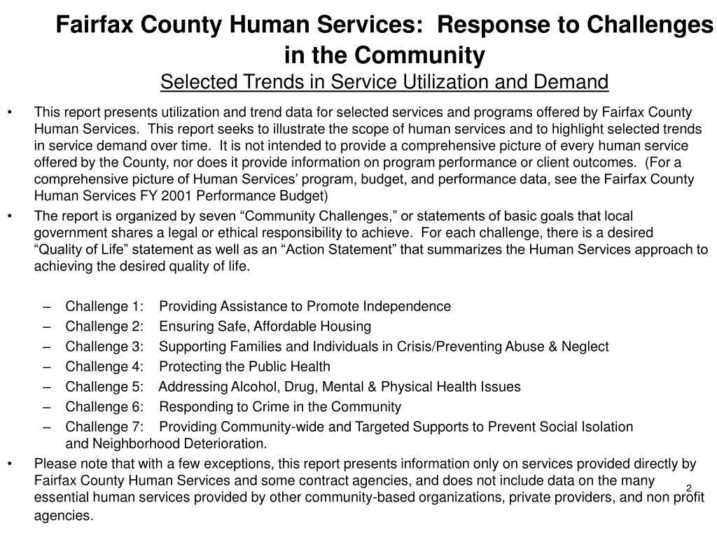 Fairfax County Human Services:  Response to Challenges in the Community
