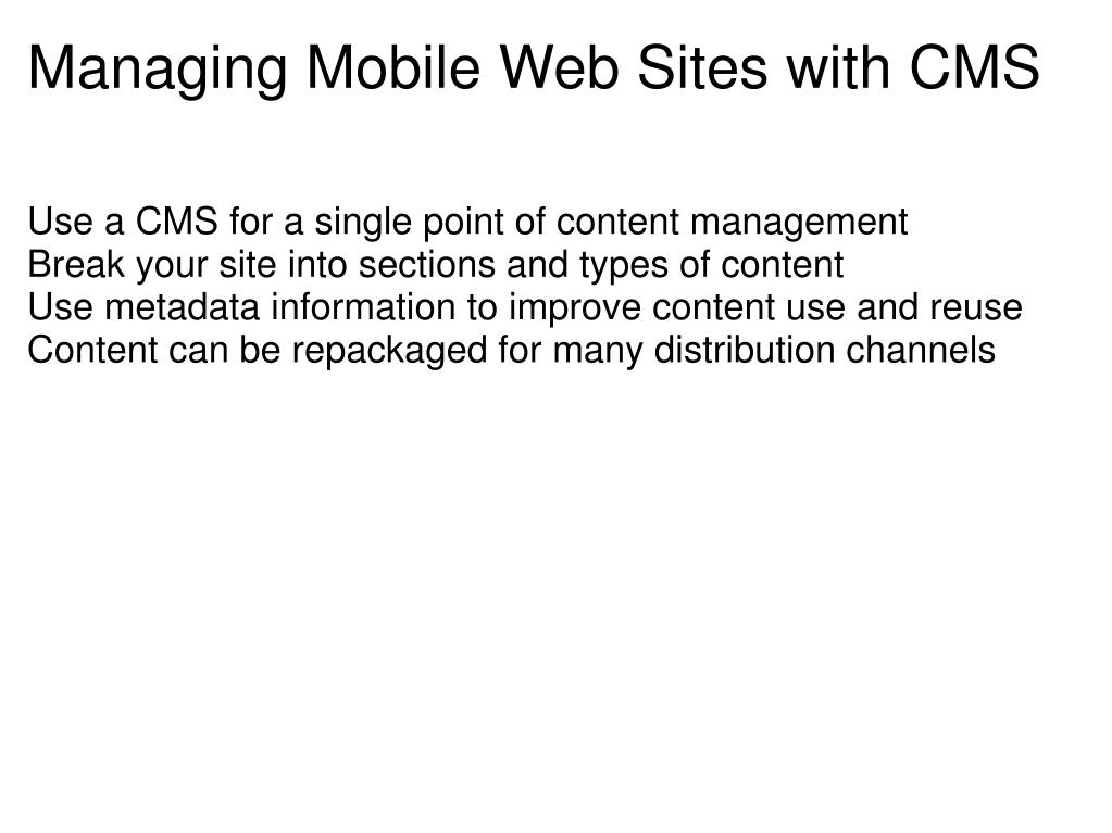 Managing Mobile Web Sites with CMS