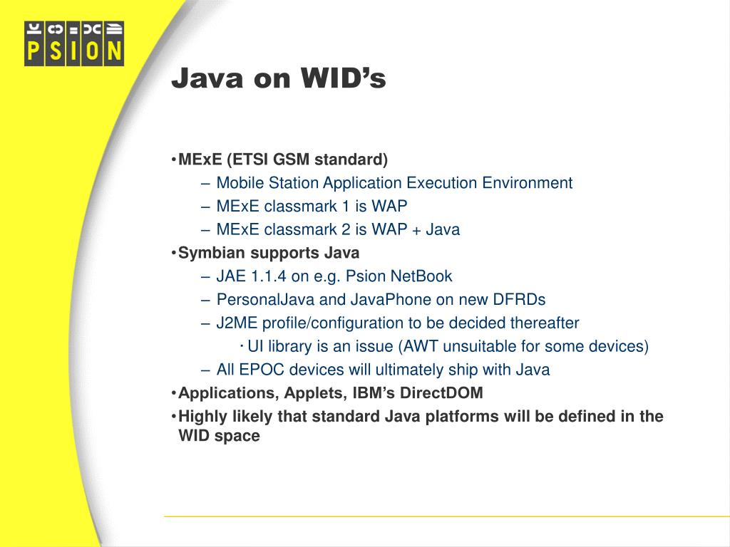 Java on WID's