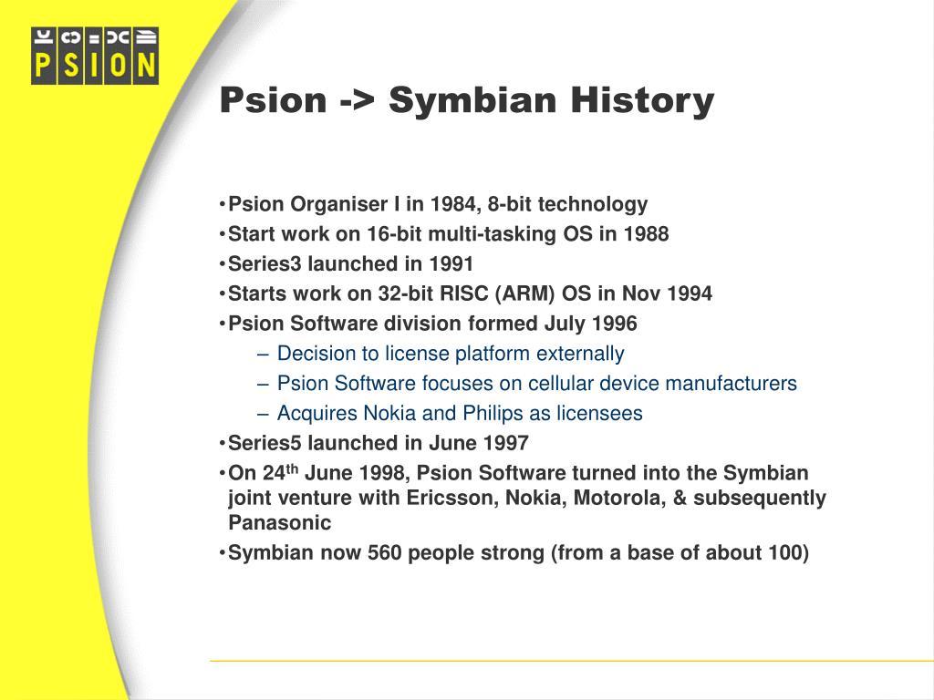 Psion -> Symbian History