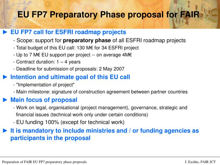 Eu fp7 preparatory phase proposal for fair