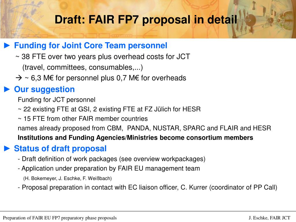 Draft: FAIR FP7 proposal in detail