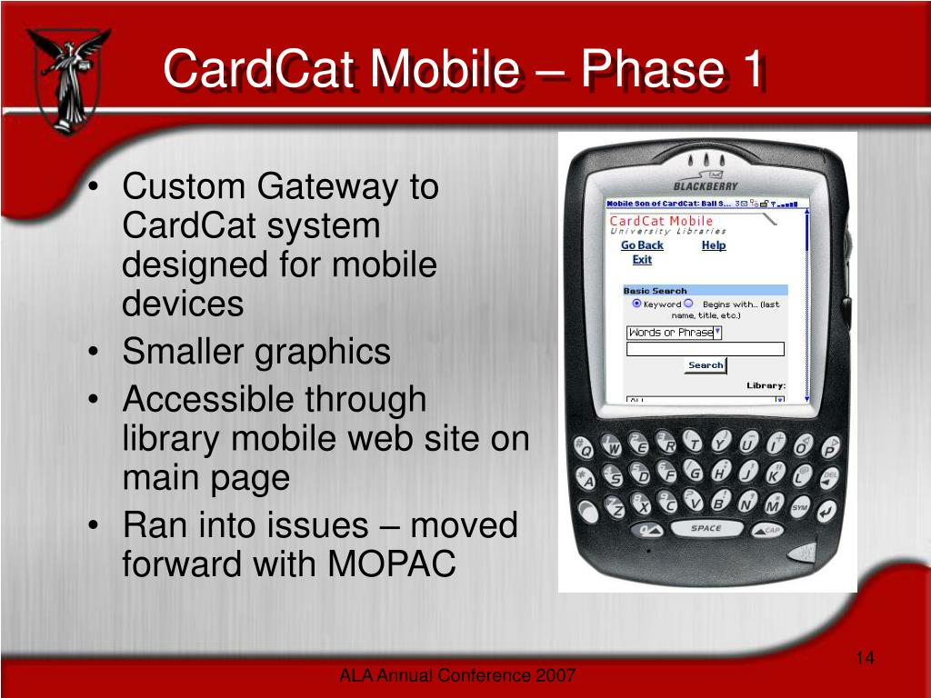Custom Gateway to CardCat system designed for mobile devices